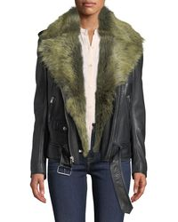 7 For All Mankind - Leather Moto Jacket With Removable Shearling Fur - Lyst