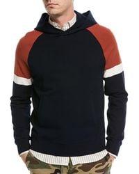 Vince   Colorblock Pullover Sweatshirt W/ Hood   Lyst