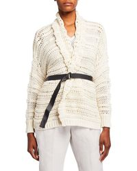 Brunello Cucinelli Netted Shawl Collar Wrap Cardigan With Grosgrain Belt - White
