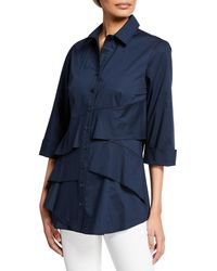 Finley Jenna Button-front 3/4-sleeve Tiered Ruffle Blouse - Blue