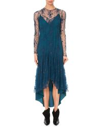 Givenchy - Long-sleeve A-line Lace Dress W/ High-low Hem - Lyst