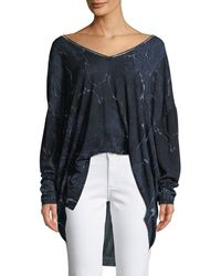 Halston - Long-sleeve V-neck Printed Sweater - Lyst