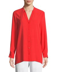 Eileen Fisher - Silk Georgette Crepe Button-front Top - Lyst