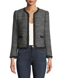 Rebecca Taylor - Short Tweed Jacket W/ Ruffle Trim - Lyst