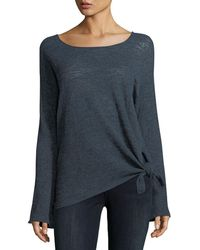 Minnie Rose - Knotted Linen-blend Pullover Top - Lyst