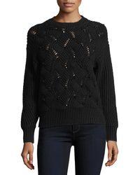 Rebecca Taylor   Crewneck Embellished Pullover Knit Sweater   Lyst