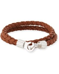 Brace Humanity - Men's Braided Napa Leather Bracelet Brown/silver - Lyst
