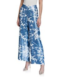 Lafayette 148 New York Riverside Floral Sequin Wide-leg Ankle Pants - Blue