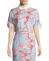Lela Rose - Linear Floral-print Crepe Tie-sleeve Crop Top - Lyst