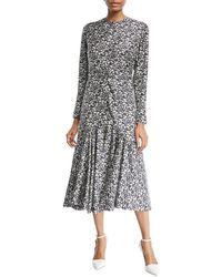 CALVIN KLEIN 205W39NYC - Daisy-print Long-sleeve Silk Midi Dress - Lyst