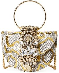 Gedebe Brigitte Mini Jeweled Snakeskin Top-handle Bag - Metallic