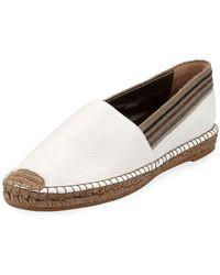 Brunello Cucinelli Flat Leather Slip-on Espadrilles With Striped Cuff - White