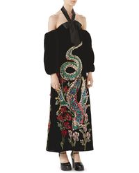 1a9487055 Gucci Long-sleeve Evening Gown W/ Bow Embroidery in Black - Lyst