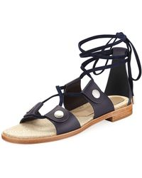 Rag & Bone - Evelyn Lace-up Flat Leather Sandal - Lyst
