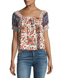 Joie - Cleona Pouf-sleeve Floral-print Cotton Top - Lyst