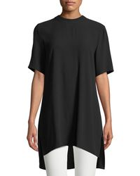 Eileen Fisher | Silk-georgette High-neck Long Tunic | Lyst