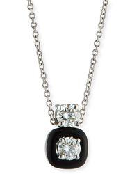 Nikos Koulis 18k Oui Double Diamond & Black Enamel Necklace - Multicolor