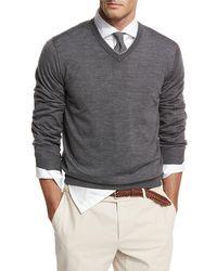 Brunello Cucinelli - Fine-gauge Tipped V-neck Sweater - Lyst