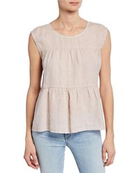 Velvet Mandi Sleeveless Linen Top With Ruching - Pink