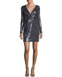Jovani | Long-sleeve Surplice Sequin Cocktail Dress | Lyst