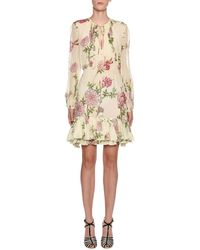 Giambattista Valli - Smocked-front Floral Peasant Blouse - Lyst