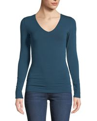 Neiman Marcus - Amelie Long-sleeve V-neck Top - Lyst