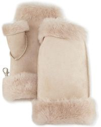 Gushlow and Cole Fingerless Shearling Mittens - Natural