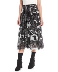 Fuzzi - Graphic Floral-print Tulle A-line Skirt - Lyst