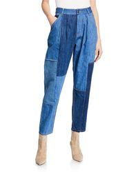 COACH Denim Patchwork Pleated Pants - Blue