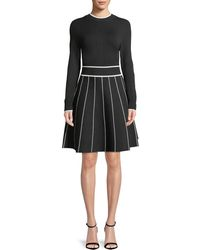 Lela Rose - Long-sleeve Crewneck Striped Fit-and-flare Knit Cocktail Dress - Lyst