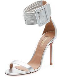 Aquazzura - Casa Blanca Lamb Leather Ankle-cuff Sandal - Lyst