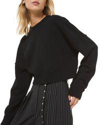 Michael Kors Cashmere Drop-shoulder Crop Sweatshirt - Black