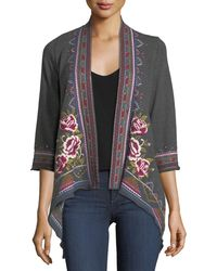 Johnny Was - Langley French Terry Draped Cardigan - Lyst