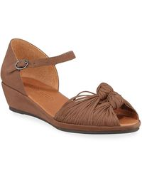 Gentle Souls Lily Knotted Nubuck Wedge Sandals - Brown