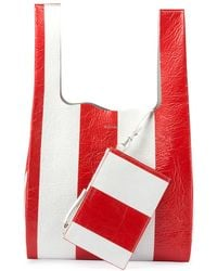 Balenciaga - Supermarket Striped Shopper Hobo Bag - Lyst