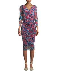Fuzzi - Rose-print Shirred V-neck Dress - Lyst