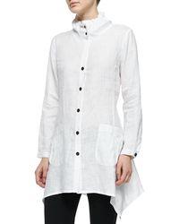 Go> By Go Silk - Ruffle-collar Linen Drama Big Shirt - Lyst
