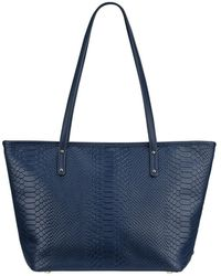 Gigi New York Taylor Python-print Tote Bag - Blue