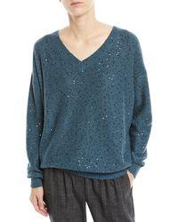 Brunello Cucinelli - V-neck Long-sleeve Paillette Silk-cashmere Sweater - Lyst