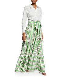 Badgley Mischka Long-sleeve Shirt Top & Striped Skirt Gown - White