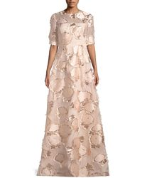 Lela Rose - Holly Elbow-sleeve Embroidered A-line Evening Gown - Lyst