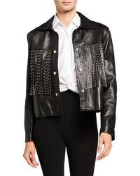 Nour Hammour Leather Moto Jacket With Studded Fringe - Black