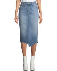 136bec7a42b2f 7 For All Mankind - Spliced Denim Pencil Skirt - Lyst