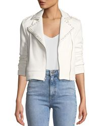 Cupcakes And Cashmere - Bernadette Pearl-studded Scuba Moto Jacket - Lyst