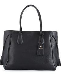 Longchamp Penelope Large Leather Tote Bag - Black