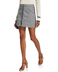 Veronica Beard Ava Striped Mini Skirt W/ Tux Exposed Zipper - Blue