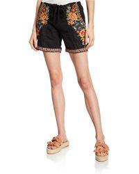 Johnny Was Plus Size Sentrie Camo-print Drawstring Linen Shorts W/ Embroidery - Black