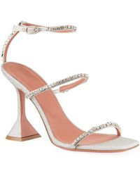 AMINA MUADDI Gilda Glitter Crystal Sandals - Metallic