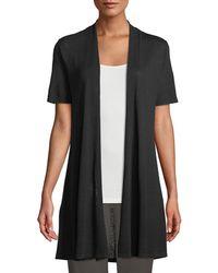 Eileen Fisher - Short-sleeve Fine Silk-organic Linen Long Cardigan - Lyst