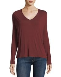 Neiman Marcus | Soft Touch Long-sleeve Relaxed V-neck Tee | Lyst